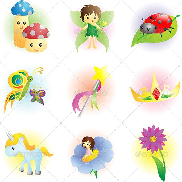 Fantasy Fairy Icons - Characters Vectors