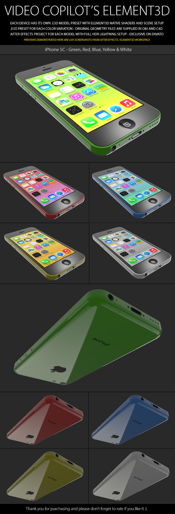 Element3D - iPhone 5C - 3DOcean Item for Sale