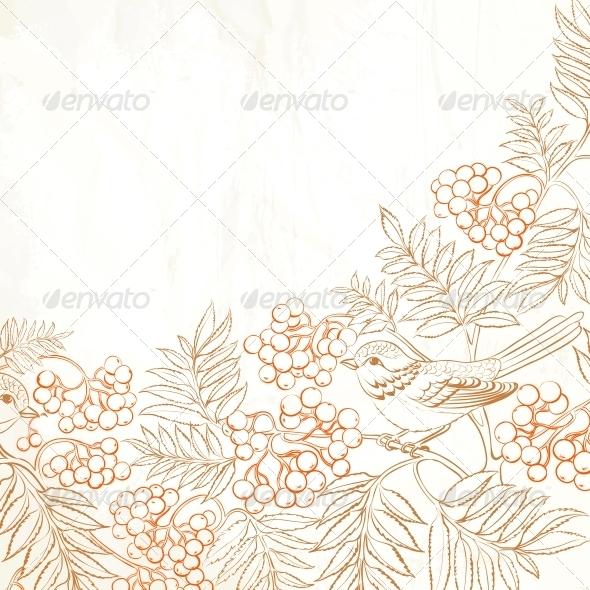 Background Bush Rowan and Bird - Birthdays Seasons/Holidays
