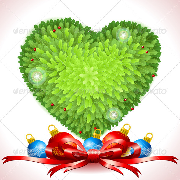Holly Leaves Heart with Christmas Balls