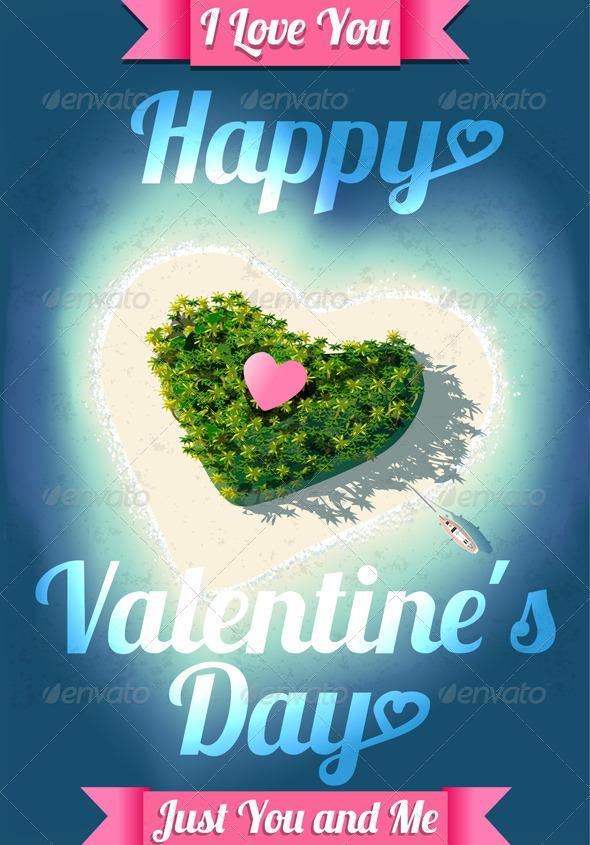 Happy Valentine's Day Tropical Island  - Valentines Seasons/Holidays