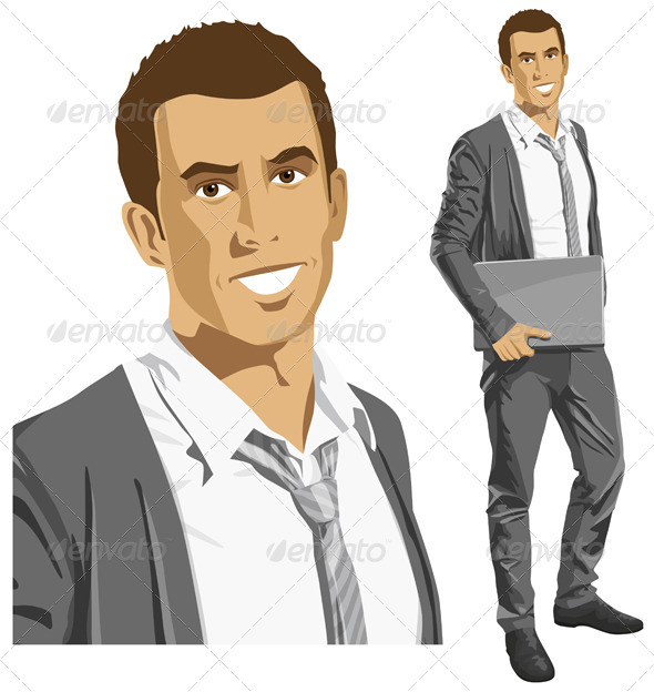Vector Businessman with Laptop - People Characters
