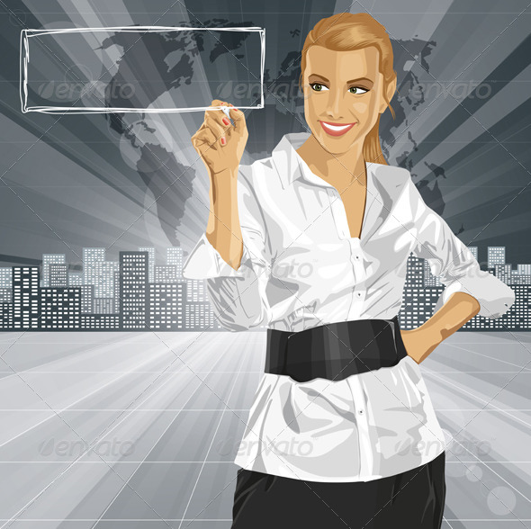 Vector Business Woman Writing Something - People Characters