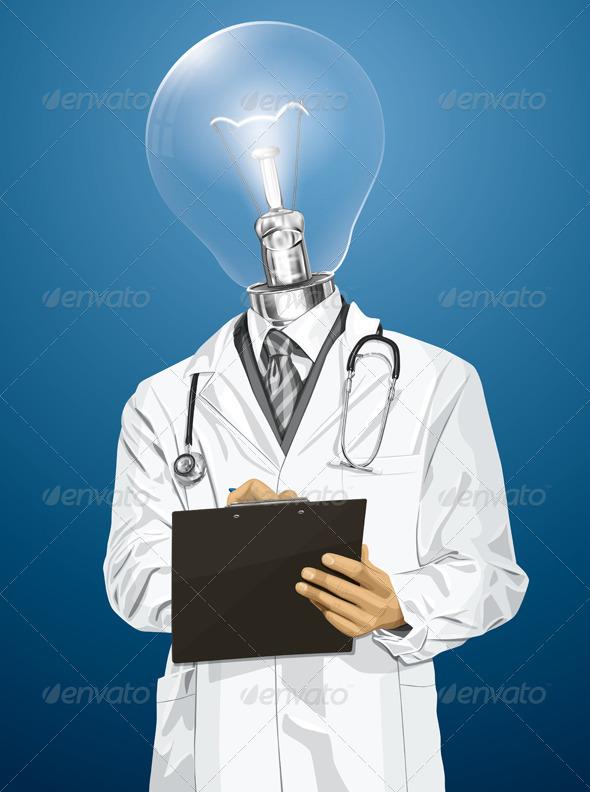 Vector Lamp Head Doctor Man with Clipboard - Health/Medicine Conceptual