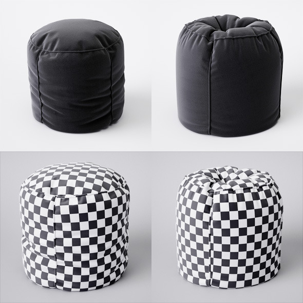 2 pouf with pleats - 3DOcean Item for Sale