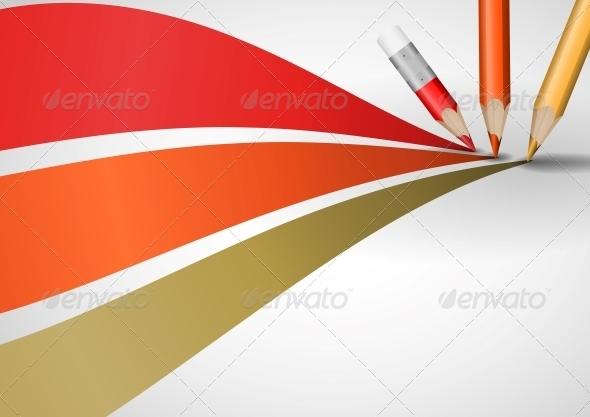 Colour Pencils Drawing Lines. - Concepts Business