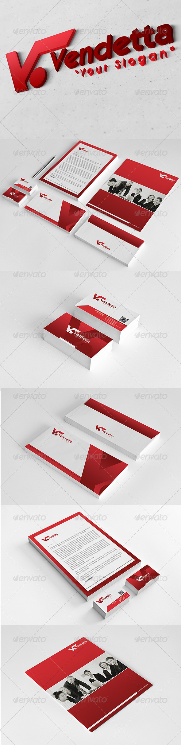 Vendetta Corporate Identity Package V2 - Stationery Print Templates
