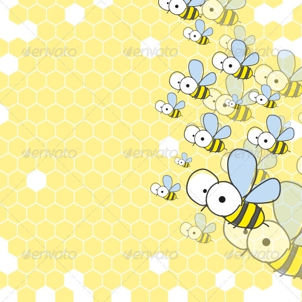 Bees and Honeycomb. Spring Background. - Seasons Nature