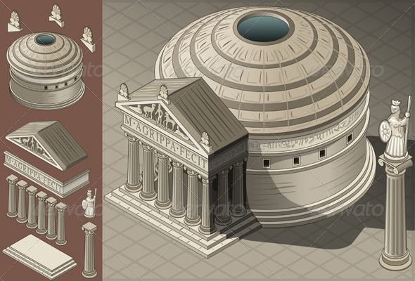 Isometric Pantheon Temple in Roman Architecture - Buildings Objects