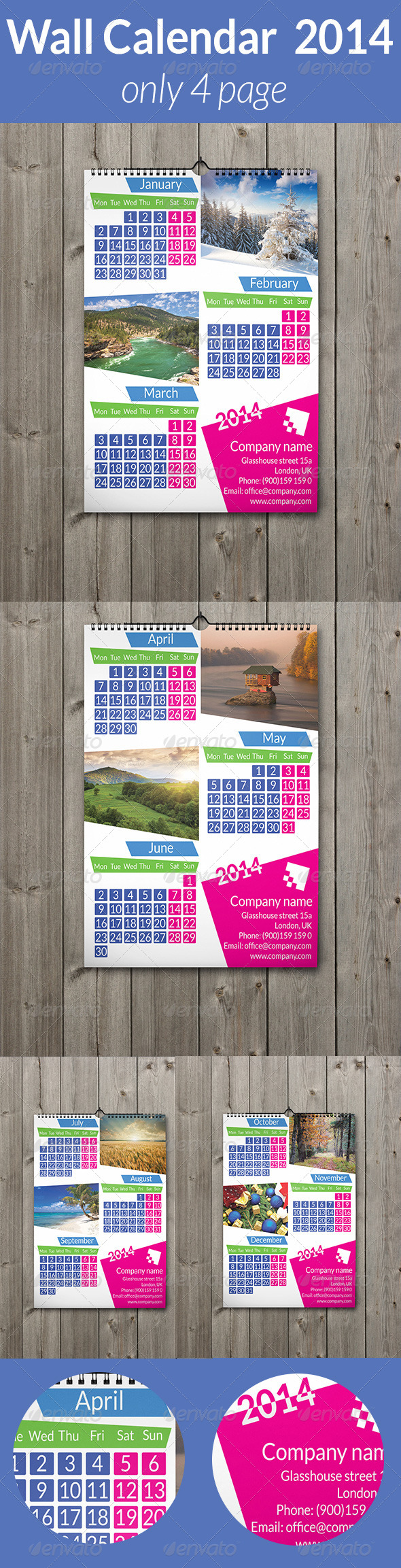 Wall Calendar  2014 Only 4 Page - Calendars Stationery