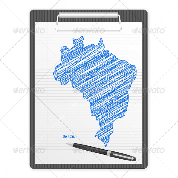 Clipboard Brazil Map - Objects Vectors