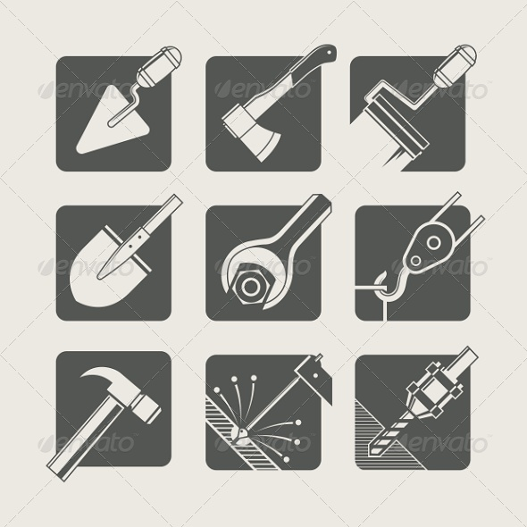 Construction Tools. Set of Vector Icons - Industries Business
