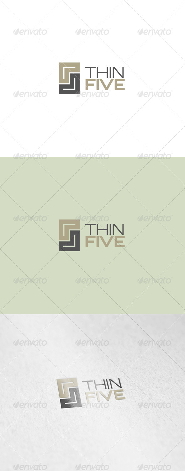 Thin Five Logo - Numbers Logo Templates