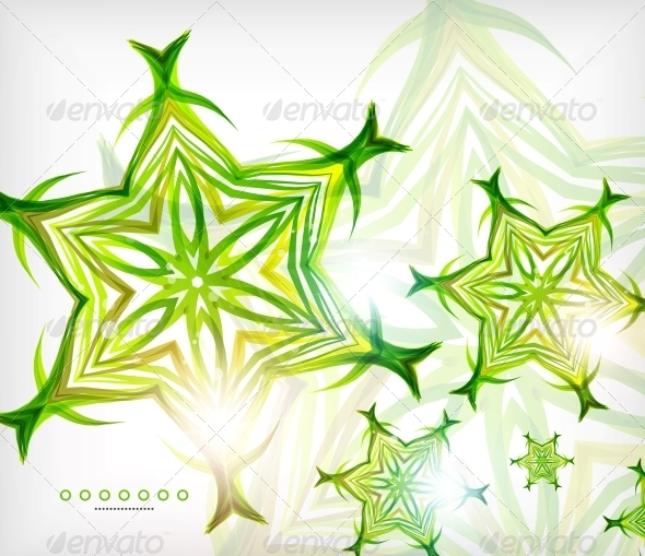 Green Abstract Eco Wave Swirls with Lights - Backgrounds Decorative