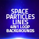 Space Particles And Lines Loop 4in1 Backgrounds Blue - VideoHive Item for Sale