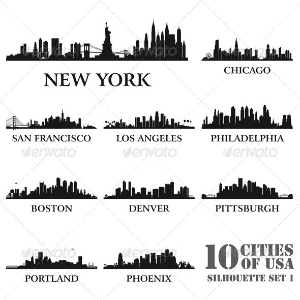 Silhouette City Set of USA #1 - Backgrounds Decorative