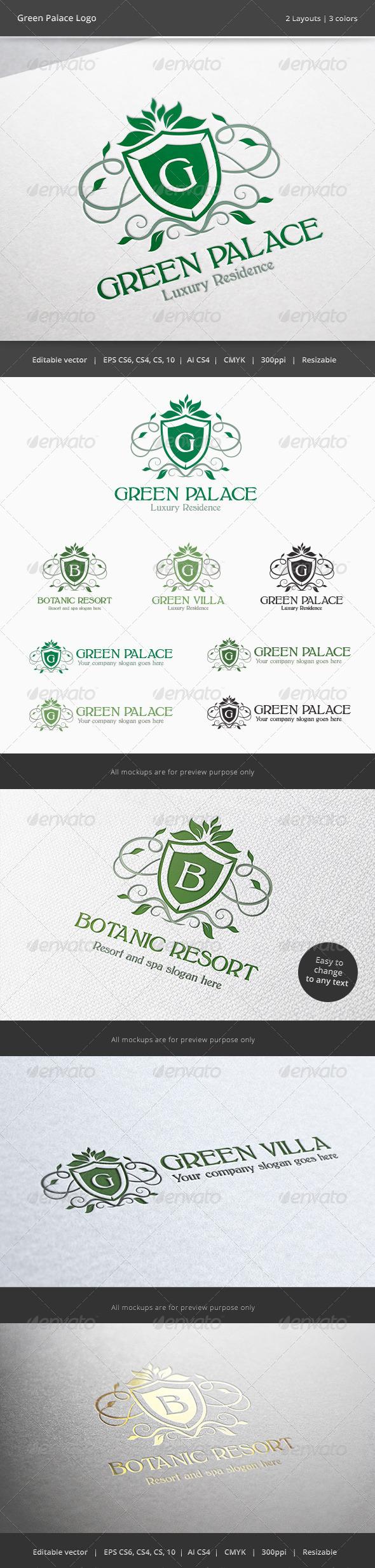 Green Palace Letter Crest Logo - Crests Logo Templates