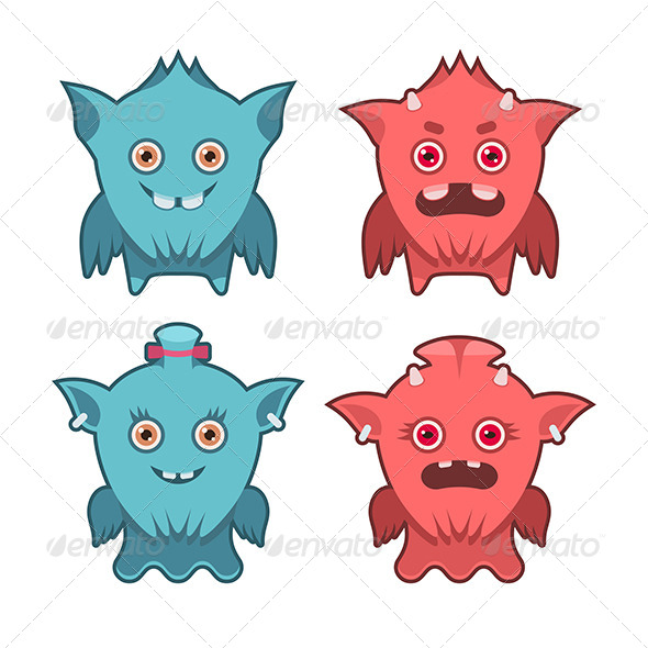 Monster Emotions Set - Characters Vectors