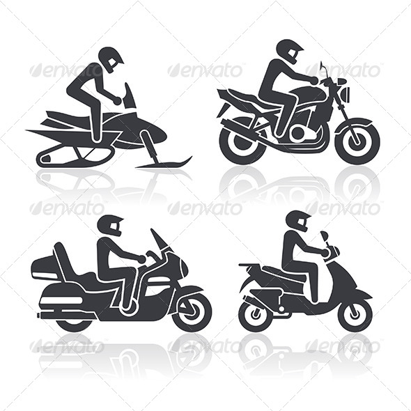 Motorcycle Icons Set - Objects Vectors