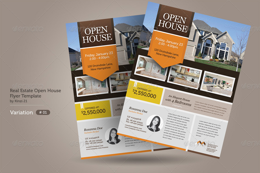 Real Estate Open House Flyers By Kinzi GraphicRiver - Open house ad template
