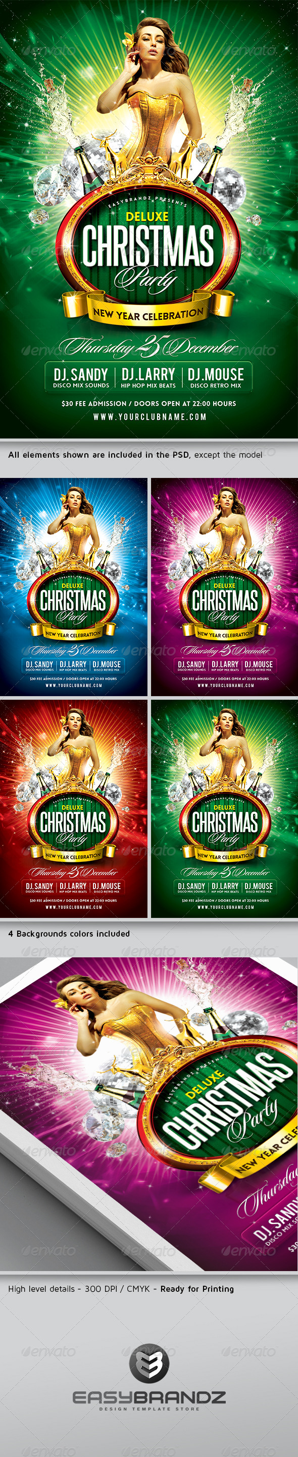 Deluxe Christmas Party Flyer Template - Holidays Events