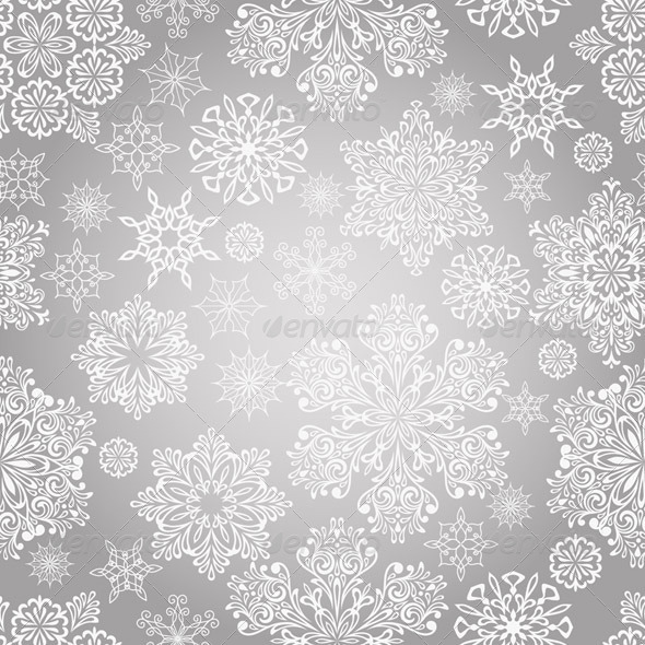 Vector Seamless Pattern with White Snowflakes - Patterns Decorative