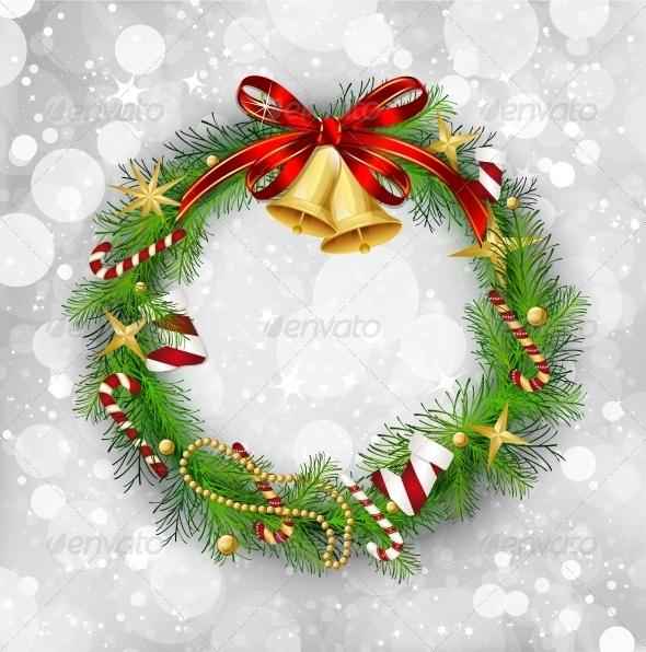 Christmas Garland with Bells and Holly Berry - Christmas Seasons/Holidays