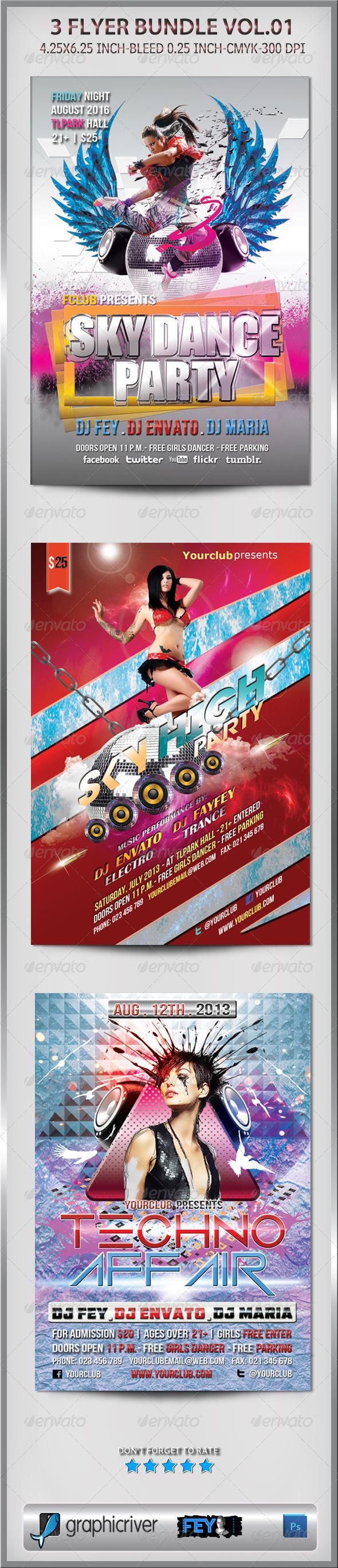 3 Flyer Bundle Vol.01 - Clubs & Parties Events