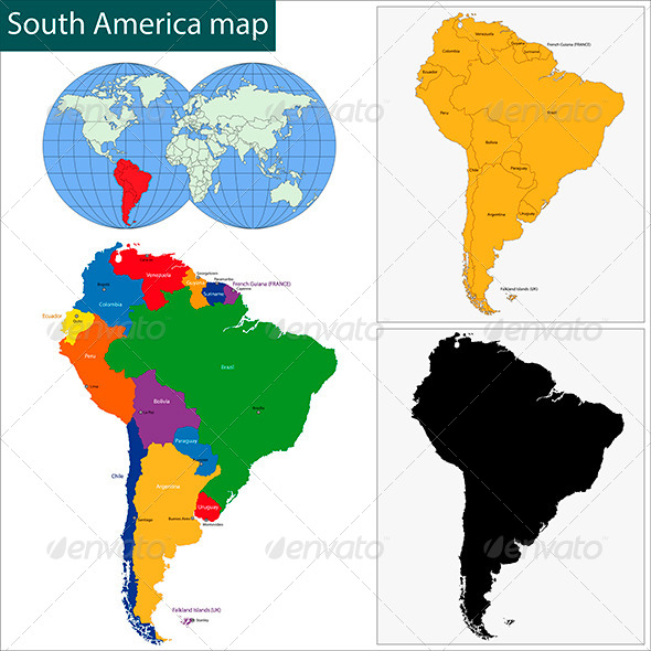 South America Map - Travel Conceptual