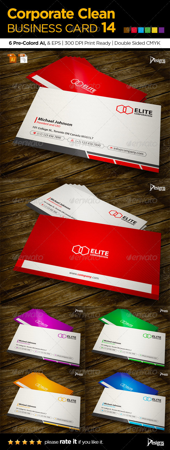 Corporate Clean Business Card 14 - Corporate Business Cards