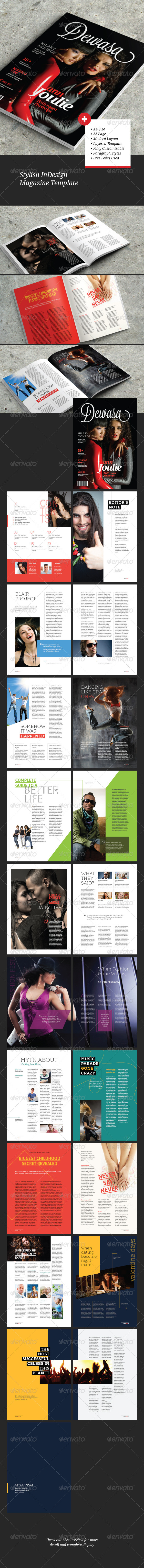 A4/Leter Stylish InDesign Magazine Template - Magazines Print Templates