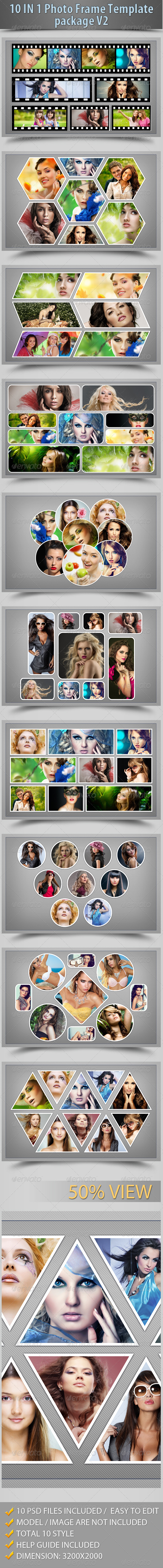 10 In 1 Photo Frame Template Package V2 - Photo Templates Graphics