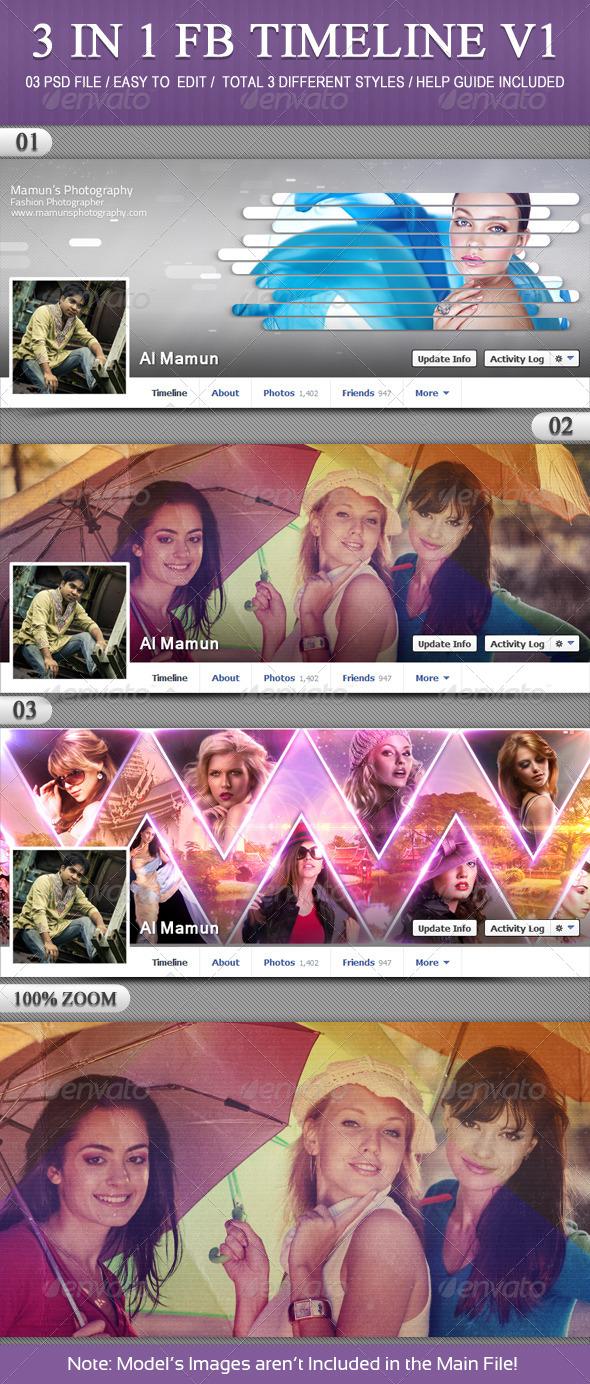 3 In 1 FB Timeline V1 - Facebook Timeline Covers Social Media
