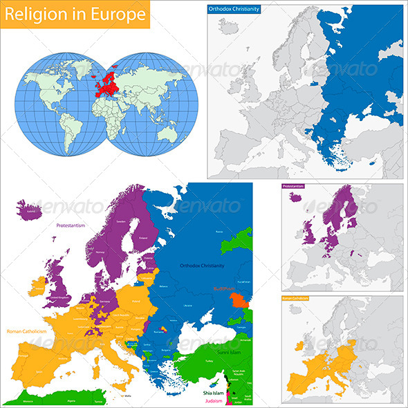 Predominant Religious In Europe By Volina GraphicRiver - Religion map europe