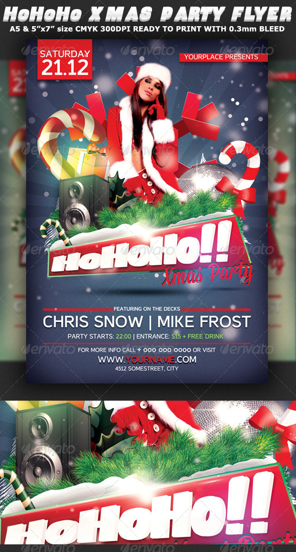 HoHoHo Xmas Party Flyer Template - Clubs & Parties Events