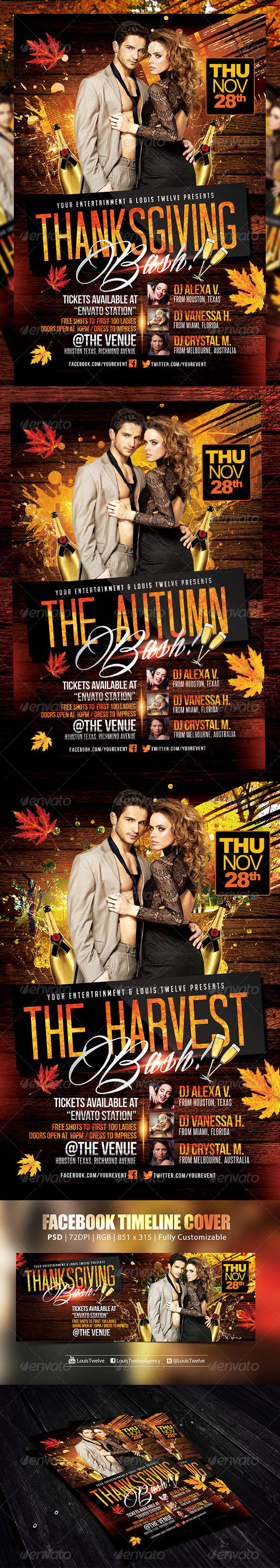 Thanksgiving or Autumn Bash | Flyer + FB Cover