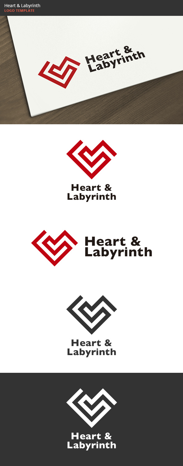 Heart & Labyrinth Logo - Symbols Logo Templates