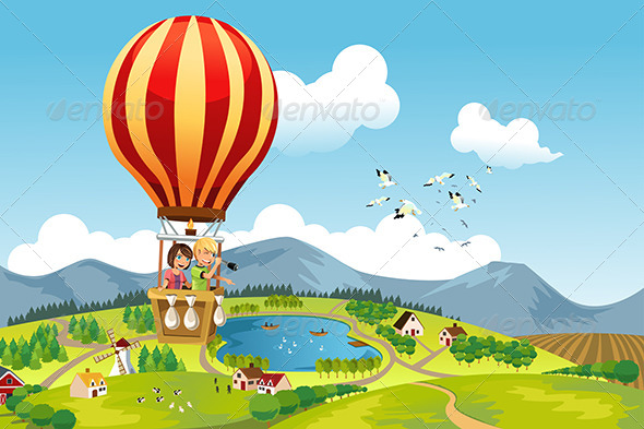 Kids Riding Hot Air Balloon - Travel Conceptual