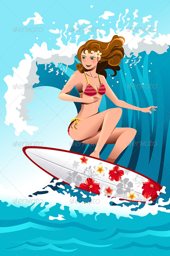Surfing Girl - Travel Conceptual