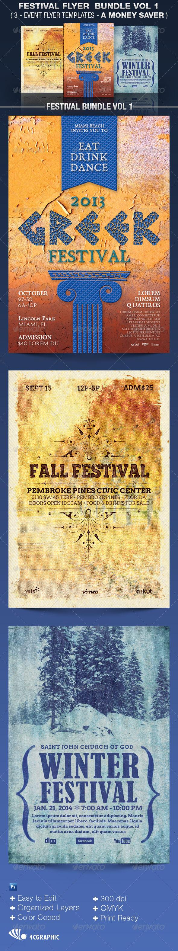 Festival Flyer Templates Bundle Vol 1 - Events Flyers