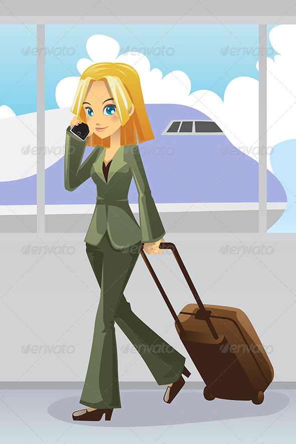 Businesswoman at Airport - Travel Conceptual