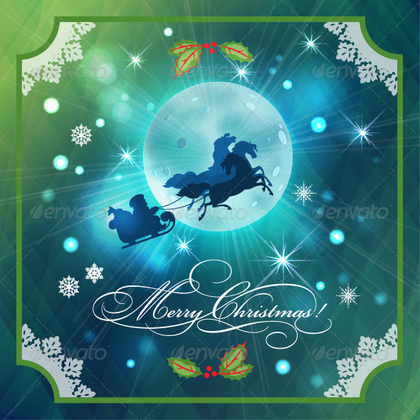 Santa Riding Sleigh in Christmas Night Background - Christmas Seasons/Holidays