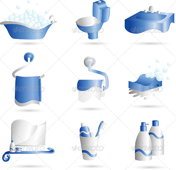 Bathroom Icons - Objects Vectors