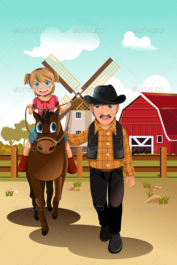 Girl Riding Horse with Grandfather - People Characters
