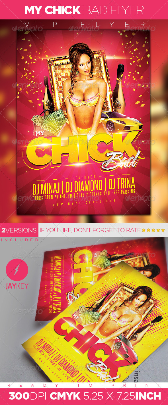 My Chick Bad Party Flyer - Clubs & Parties Events