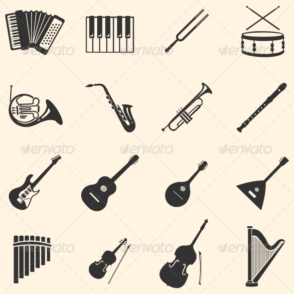 Vector Set of 16  Musical Instruments Icons - Man-made objects Objects