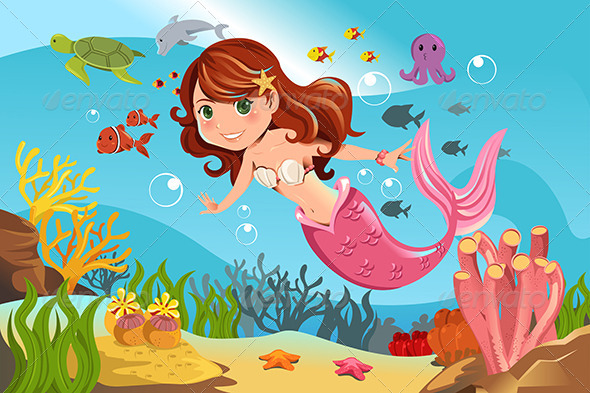 Mermaid in Ocean - Characters Vectors