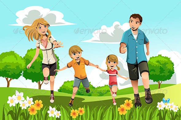 Family Running in Park - People Characters