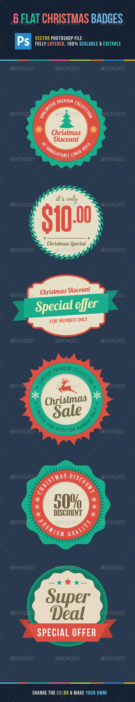 Flat Christmas Sale Badges - Badges & Stickers Web Elements