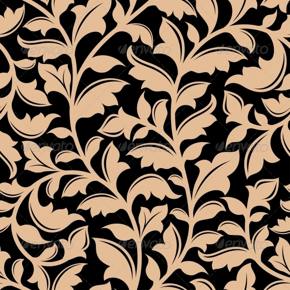 Floral Seamless Pattern with Flourish Elements - Patterns Decorative